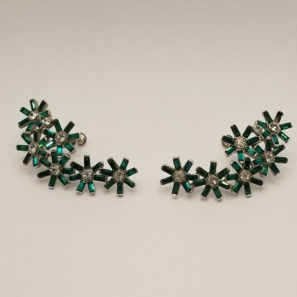 Vintage Green and Clear Rhinestone screw back Earrings